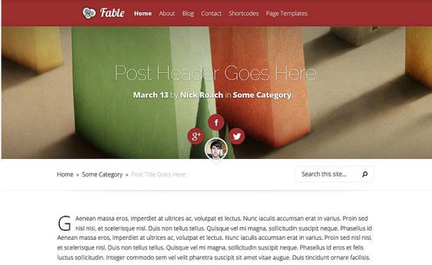 Fable v1.7.6 - тема WordPress для блога