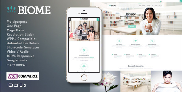 Biome v1.6 - Многопользовательский лэндинг WordPress